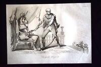 Incisione d'allegoria e satira Josef Bem, Ungheria, Inghilterra Don Pirlone 1851