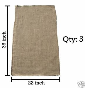 5 Burlap Sacks- Potato Sack Race Bags, Sandbags, Gunny Sack 22x36, Fish Bag