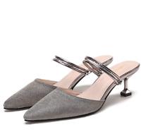 Womens Kitten Heels Shoes Slingbacks Pointy Toe Shiny Casual Slippers Sandals SZ