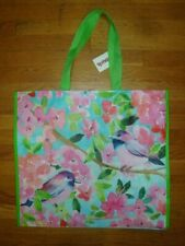 New TJ Maxx Large Shopping Tote Bag Reusable Bag Pink Spring Florals with Birds