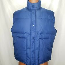 Vintage Blue Down Puffy Vest Large Camping Hiking Snap Front 2 Pocket