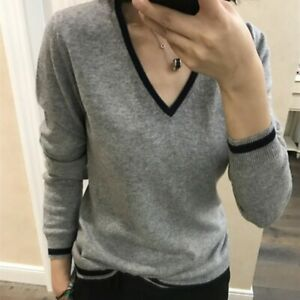 Winter Cashmere Sweater V-neck Pullover Loose Sweater Large Knit Bottoming Shirt