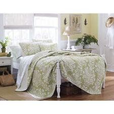 King Size Laura Ashley Sage Floral Cotton 3- Pc Reversible Quilt,Bedspread Set