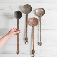 Antique Hammered Copper Serving Spoons French Provincial Vintage Kitchen Decor