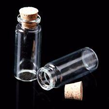10x leere mini Glasflaschen mit Korken Glas Behälter transparent 0.5 - 12ml