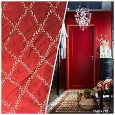 SALE! 100% Silk Taffeta Dupioni Fabric Embroidery Floral Diamonds