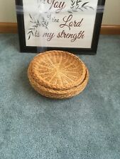 Picnic Plate Holders Bamboo Or Wicker Camping Set Of 7