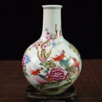 China old porcelain Hand-painted pastel phoenix celestial bottle porcelain vase