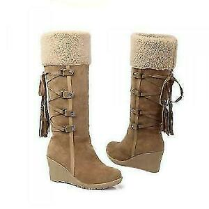 Warm Ladies  Winter Shoes Fur Trim Faux Suede Knee High Boots Wedge Heels Lace