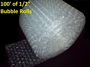 """100 Feet of Bubble Wrap® 12"""" Wide! 1/2"""" LARGE Bubbles! Perforated Every 12"""" Big"""