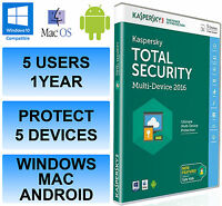 Kaspersky Total Internet Security 2016 Multi Device 5 User 1 Year DVD Retail Box