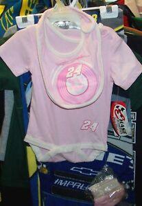 VINTAGE CHASE #24 JEFF GORDON PINK GIRLS BABY ROMPER BIB BOOTIES SET 0-3 MONTHS