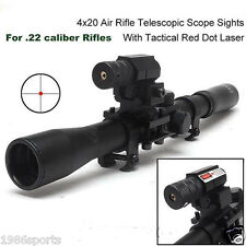 New 4X20 Hunting Telescopic Scope Mount for .22 caliber Rifles & Red Laser Sight