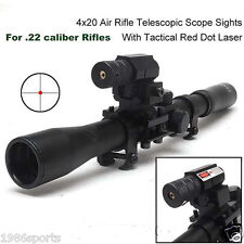 4X20 Hunting Telescopic Scope Mount for .22 caliber Rifles & Red Laser Sight #02