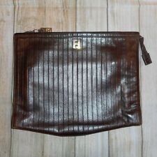 FENDI ROMA Small Brown Gold Zipper Clutch Bag Vintage