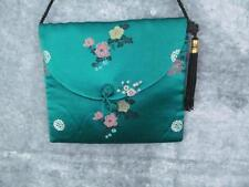 Silk Asian Print Shoulder Bag Teal Print Lined Loop Fastener 3 x 4 Fast Free S/H