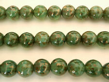10 10mm Czech Glass Round Beads: Milky Peridot - Bronze Picasso
