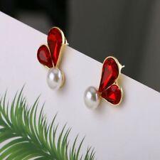 Women Jewelry Fashion Red Pearl Irregular Wild Earrings Pearl Female Heart