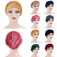 Women's Braid Chemo Cap Cancer Hat Muslim Hair Scarf Turban Hijab Head Wrap Care
