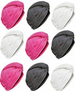 100% Egyptian Cotton Hair Turban Towel Cap Hair Drying Wrap With Button Loop