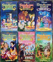 Disney's Sing Along Songs VHS Lot Of 6 (Very Merry, Friend Like Me, Zip, Bare)