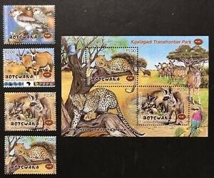 BOTSWANA WILD ANIMALS STAMPS SHEET + SET 4V 2001 MNH WILDLIFE LEOPARD FOX FALCON