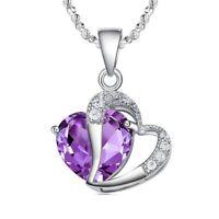 Collar de Moda Mujer Elegante Plata Amatista Corazon Purpura Cristal Colgan T6G2