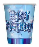 16 x Blue Glitz Paper Cups 270ml Happy Birthday Boys Party Tableware Supplies