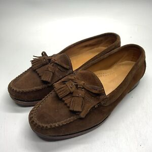Brooks Brothers Chocolate Brown Suede Kiltie Moc Tassel Loafers 8.5 D USA Made