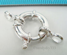 1x BRIGHT STERLING SILVER ROUND JUMBO SPRING LOBSTER CLASP 15mm #2081
