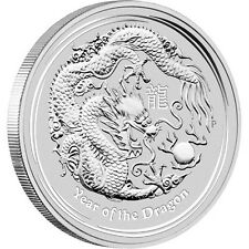 2012 $8 Year Of The Dragon 5oz Silver Bullion Coin in Capsule