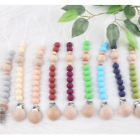 Beech Wooden Dummy Pacifier Clip Baby Silicone Beads Soother Chain Holder Toys