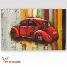 Cuadro metal 3d-VW escarabajo coche - ÉPOCA ejemplar Único relieve de pared -
