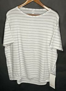 Lululemon Size 10 Back In Action Soft Cotton Top Short Sleeve Shirt Stripe NWT