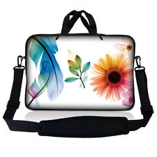 "13.3"" 13"" Laptop Mackbook Chromebook Sleeve Bag Case w Shoulder Strap Floral S14"