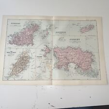 c1889 Channel Islands Isle Of Man British Isles Map Bacon Antique Vgc