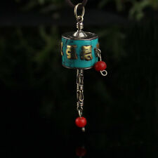 Tibetan Sterling Silver Turquoise Golden Mantra Om Mani Prayer Wheel Pendant