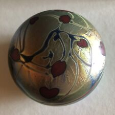 Large Steven Lundberg Early Heart and Vines  Flower Art Glass Paperweight