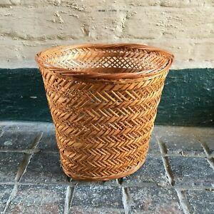 Vintage Woven Wicker Waste Paper Basket