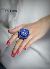 Anillo Dorado Grande Flor Rosa Azul Marino Cristal Vintage Original Regalo 53 Z1