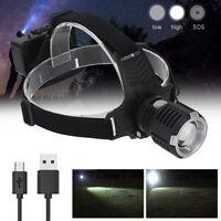 Zoomable 30W XHP70 LED Headlamp Spotlight Torch USB Hunting Flashlight 3 Modes