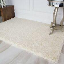 Plain Cream Vanilla Ivory Shaggy Rugs Cheap Soft Pile Anti Shed Dense Lounge Rug
