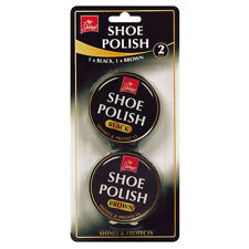 2Pk Black & Brown Jump Shoe Polish 40g Each Metal Tins Shine & Protects