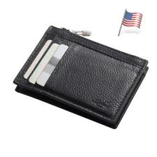 Simple Genuine Leather Slim Thin Credit Card Holder with Coin Wallet Zipper