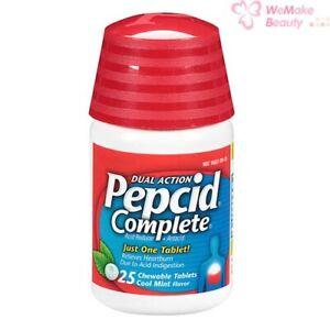 Pepcid Complete Dual Action Acid Reducer Cool Mint Flavor 25 Chewable Tablets
