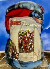 "Marvel Avengers Oversized Silk Touch Throw 60""x80"" Iron Man~Hulk~Thor~Cap. Ameri"