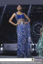 Blue Georgette Saree Bollywood Sari Tafeta Silk Blouse Ethnic Traditional Wear