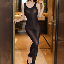 Lady Shiny Bodysuit Zipper Crotch Camisole Stretch Bodystocking Playsuit Catsuit