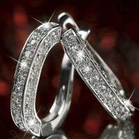Damen Silber/Gold/Rose gold Hoop Ohrring Clip Creolen Strass Ohrstecker Schmuck