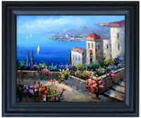 Framed Mediterranean Seaside Villas 12 Quality Hand Painted Oil Painting 16x20in